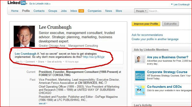 Twitter feed on LinkedIn red circle copy