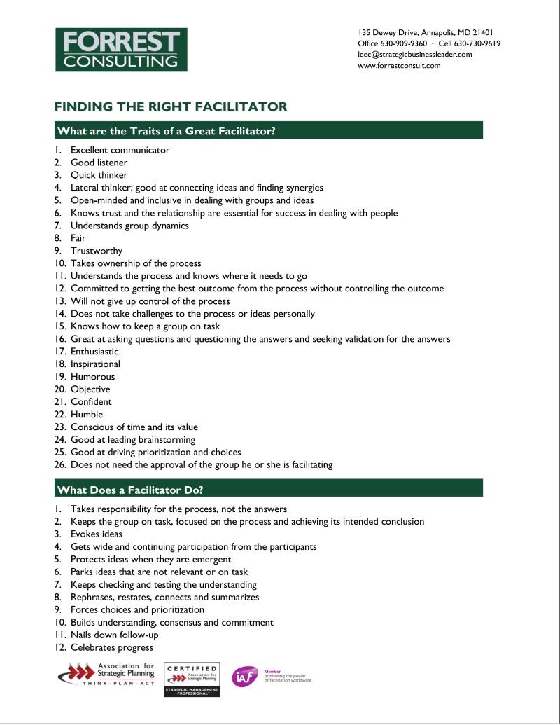 Finding the right facilitator