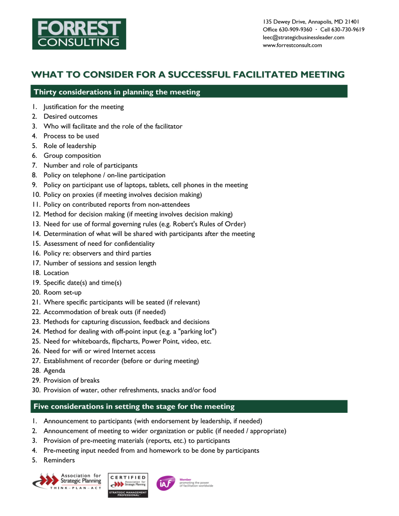 What all facilitated meetings need to succeed